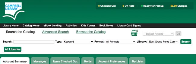screenshot of my account in library catalog