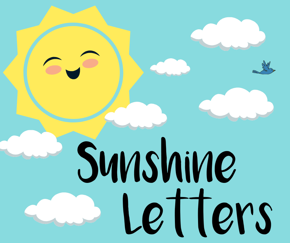 A cartoon sun and clouds and words Sunshine Letters